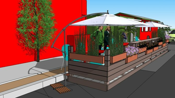 Conceptual design for parklet in front of Mama's Bakery and Live Wire. Submitted by slipdesignhaus.