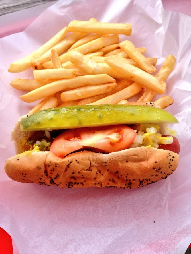 A Chicago Style Hot Dog.