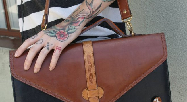 Leah Shoemaker's leather bag
