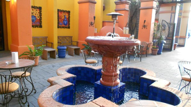 Hacienda Hotel fountain near LAX Airport in Los Angeles.