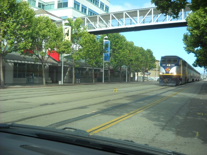 Amtrak train comes right through the heart of Oakland in the Bay area.
