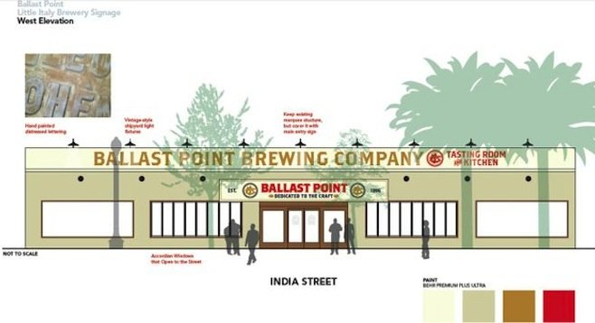 A mock-up of what will soon be a reality - Ballast Point Tasting Room & Kitchen in Little Italy