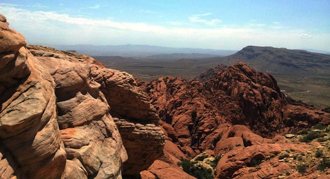 View at the top: Red Rock Canyon's Calico Tanks.