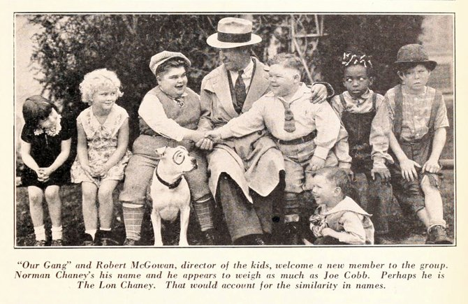 "It's a meeting of the hinds as director Robert McGowan introduces newcomer 'Chubby Chaney' to Joe Cobb and the Gang. (""The Film Daily,"" February 27, 1929.)"