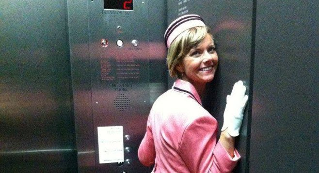 Betty Jean in her Elevator of Love.