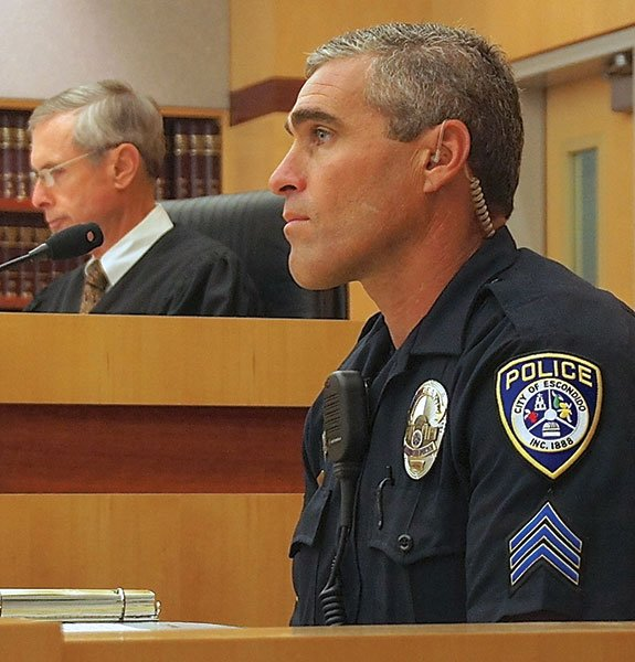 Escondido police officer Bode Bereth testified in court.