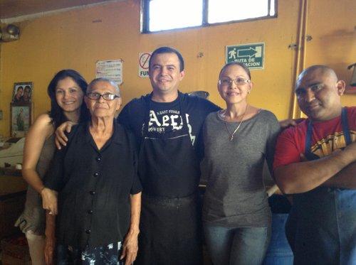 La familia (from left): Oscar's sister Carla, Oscar's grandma Jovita, Oscar, his mom María, employee Carlos