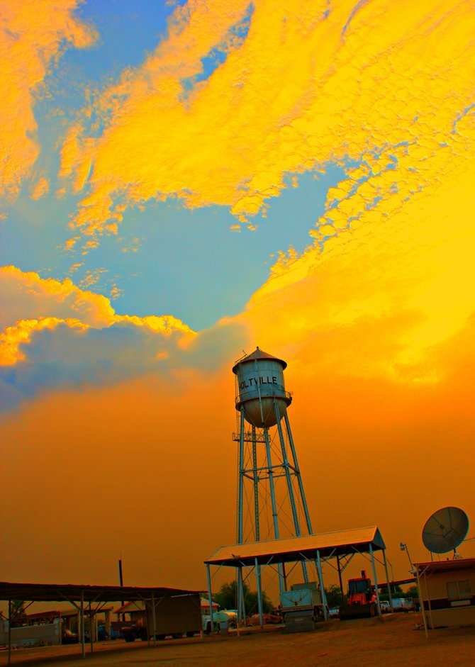 Before our last monsoon hit we experienced a 5 mile wide dust storm in Holtville, CA.  I actually went storm chasing and captured the Holtville Water Tower just as the large wall of dust hit. Vilma Ruiz Pacrem