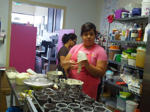 Ana Romero, Baker in action, preparing for the big fundraising day