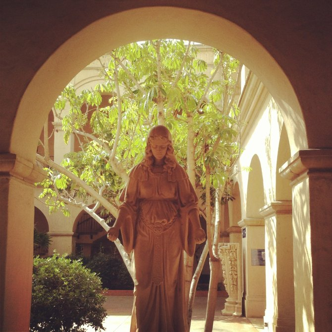The Lady watches on in the Panama-California Sculpture Court in Casa del Prado in Balboa Park