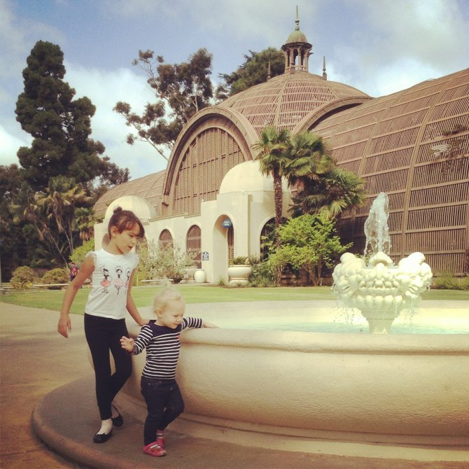 Round and round the fountain they go... Balboa Park Lily Pond and Botanical Building Fountain.