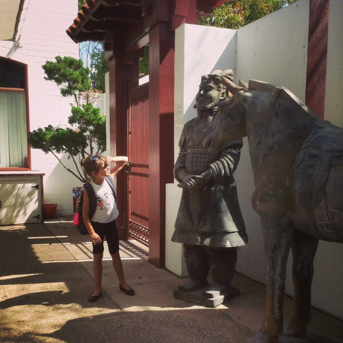 Inspecting the General at the Chinese Hstorical Museum in Downtown San Diego.