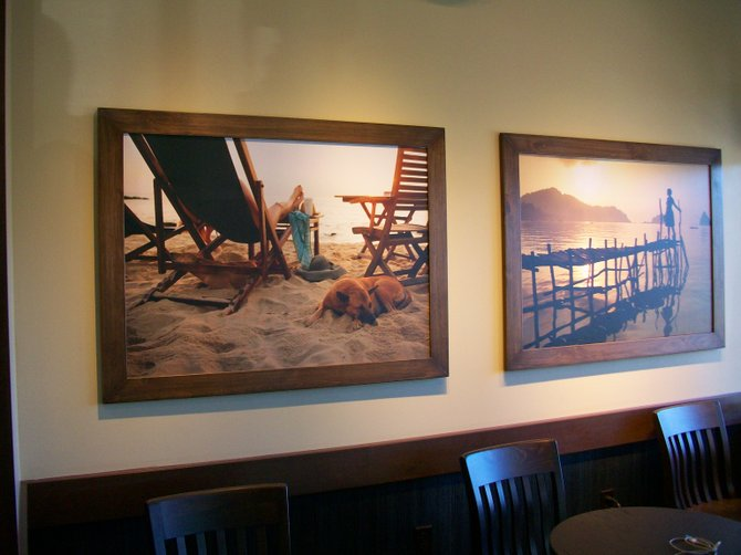 Inside walls with art at new Starbuck's Drive-Thru in the Midway District.
