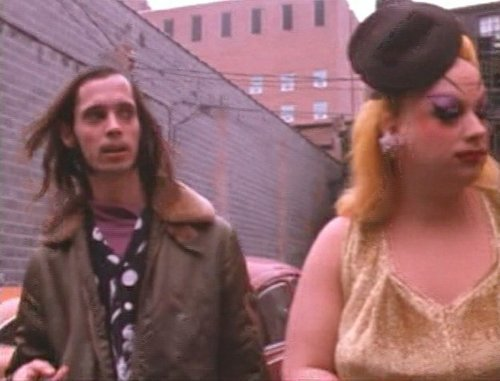 "John Waters and Divine on the set of ""Pink Flamingos."""