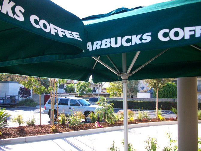 New Starbucks Coffee umbrellas along West Pt. Loma Blvd. in Midway District.