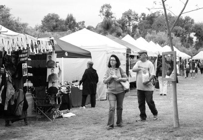 Enjoying the craft show at the Bernardo Winery in Rancho Bernardo.