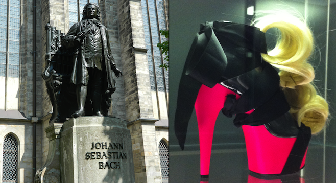 Johann Sebastian Bach near St. Thomas Church (left); a find at the Grassi Museum for Applied Arts's shoe exhibit (right).