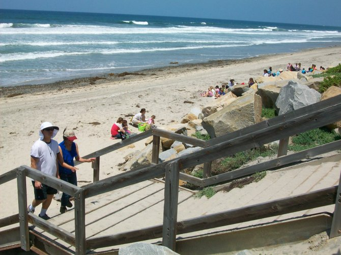 Stairway from beach up to parking lot at Torrey Pines State Beach in Del Mar.