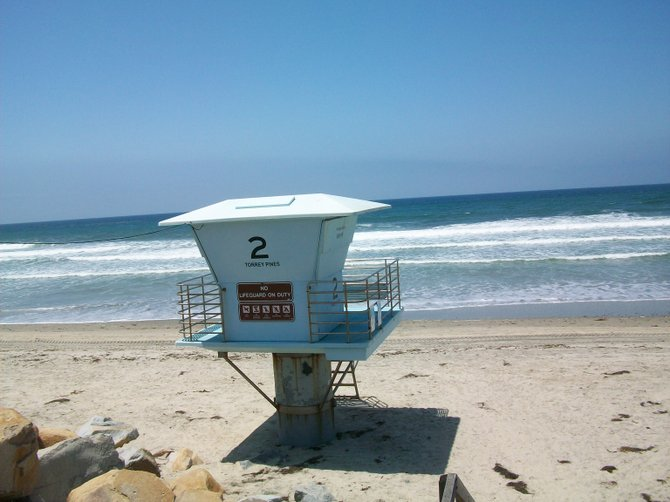 Lonely Lifeguard tower at Torrey Pines State Beach in Del Mar.