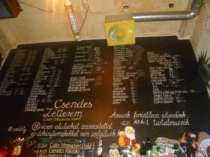 Typical Menu in Budapest Ruins Pubs
