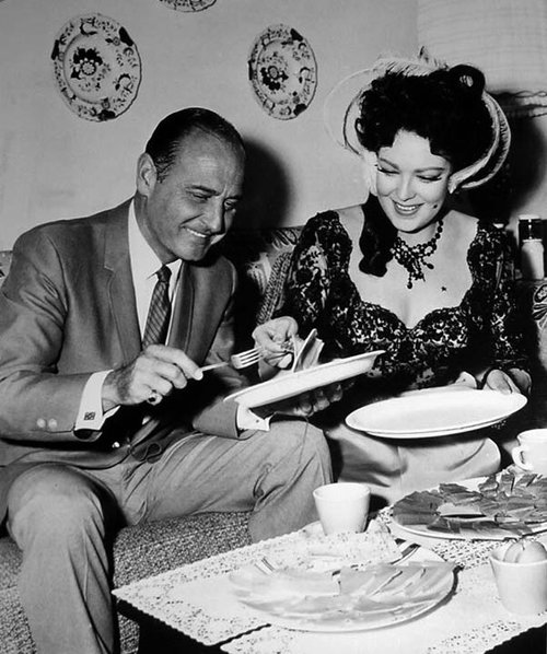 "With Linda Darnell on the set of her last film, the Paramount western, ""Black Spurs"" (1965)."