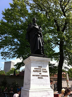 A statue of German rational agronomist Albrecht Thaer. (In a city with often-hidden street signs, you know to get off the tram and see cultural institutions when you see this guy.)