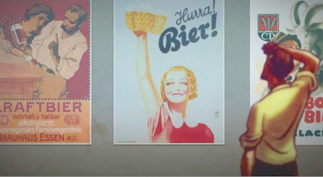 In the poster on the left, a hipster mansplains craft beer to his bored girlfriend. Silly hipster. Hurra! Bier!