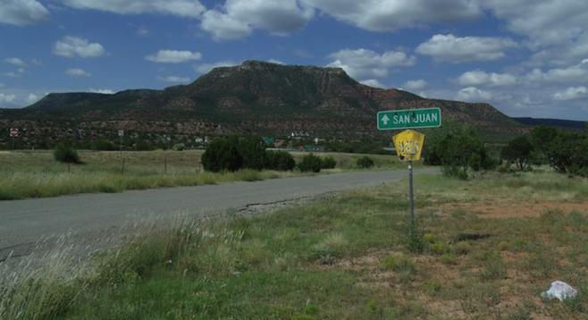 The start of the ghost-town tour on State Highway 3, east of Santa Fe.