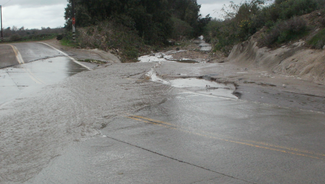 Monument Road gets washed out easily due to poor drainage in the Tijuana River Valley.