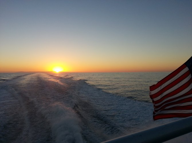 Sunset on the Pacific Ocean from the Catalina Express boat near Dana Pt.