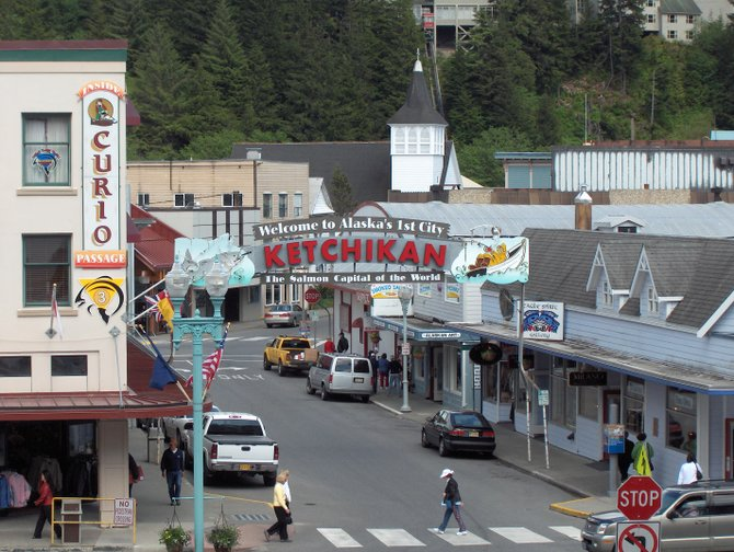 Ketchikan, Alaska as seen from the deck of Holland America cruise ship.  Sailing back again in 2014.  Can't wait!