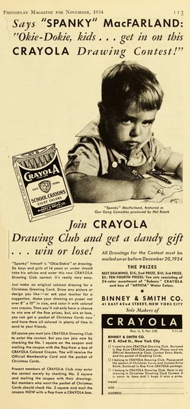 "Spanky for Crayola Crayons. ""Photoplay,"" November 1934."