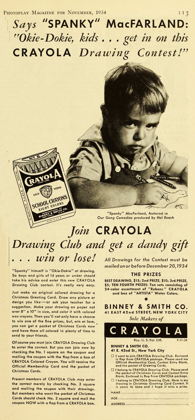"Spanky for Crayola Crayons. ""Photoplay,"" November 1934."