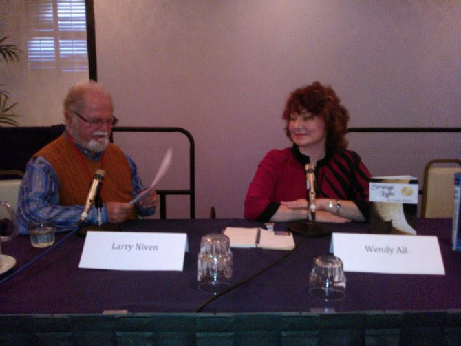Larry Niven panel with designer Wendy All, photo by Ed Cormier