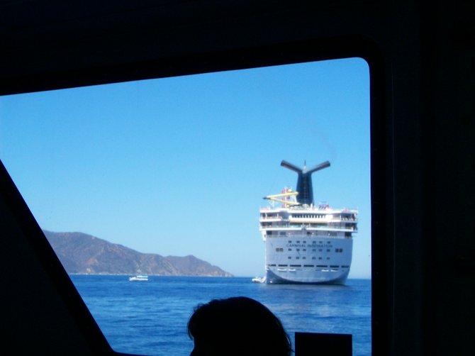Carnival Cruise ship anchored off Catalina Island.