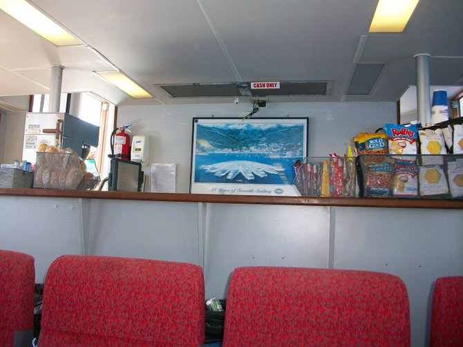 Catalina Express boat snack bar near Dana Point.