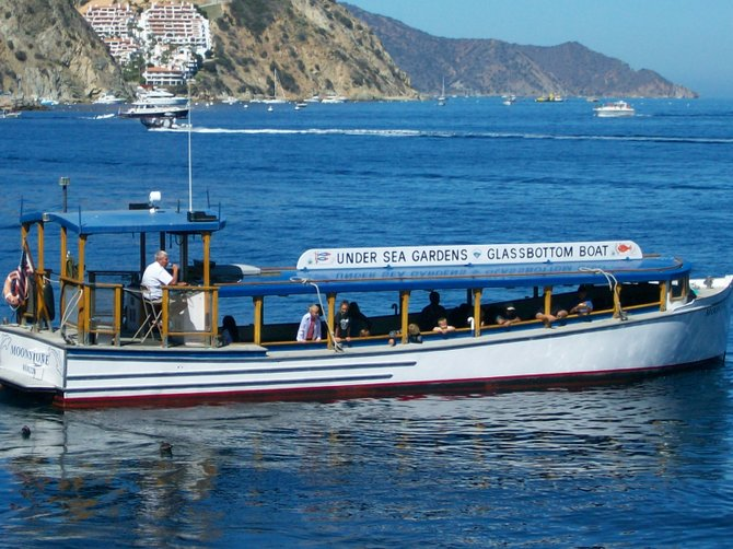 Glass-bottom boat plies the waters off Avalon on Catalina Island.