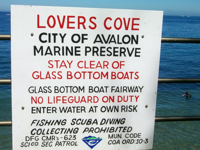 Lover's Cove sign on Catalina Island.