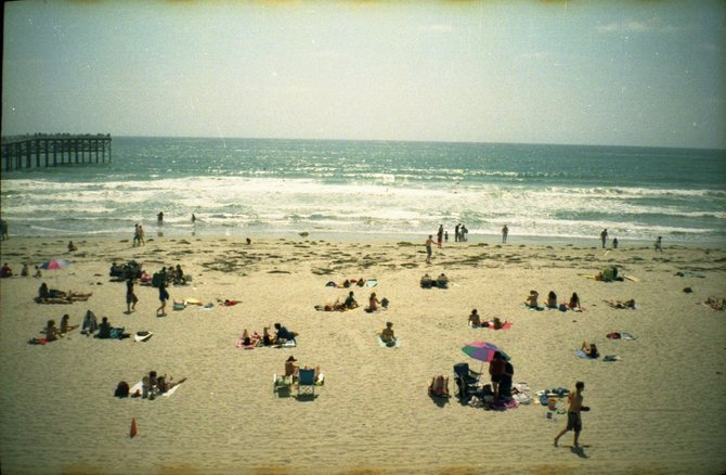 A sunny day on one of San Diego's many beaches, shot on 35 mm film.