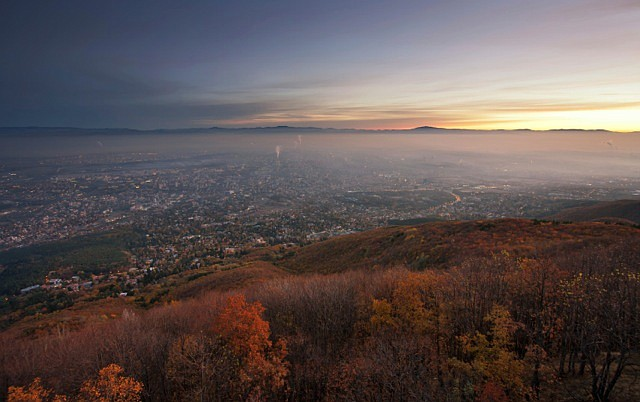 Overlooking Sofia at dawn. (stock photo)