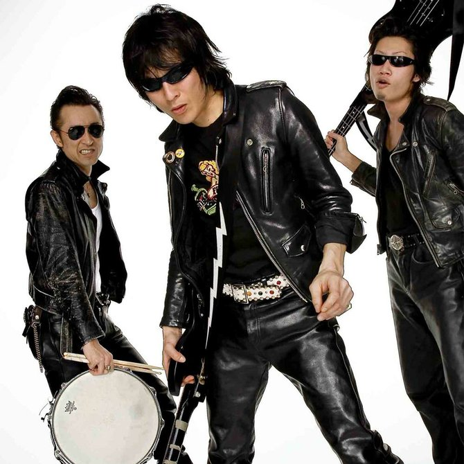 "Japanese ""jet rock 'n' roll"" trio Guitar Wolf land at the Soda on Monday."