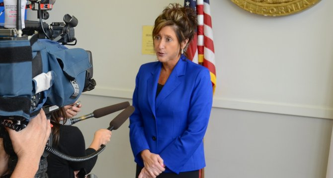 Defender Deborah Kirkwood spoke to news media. Photo Weatherston.