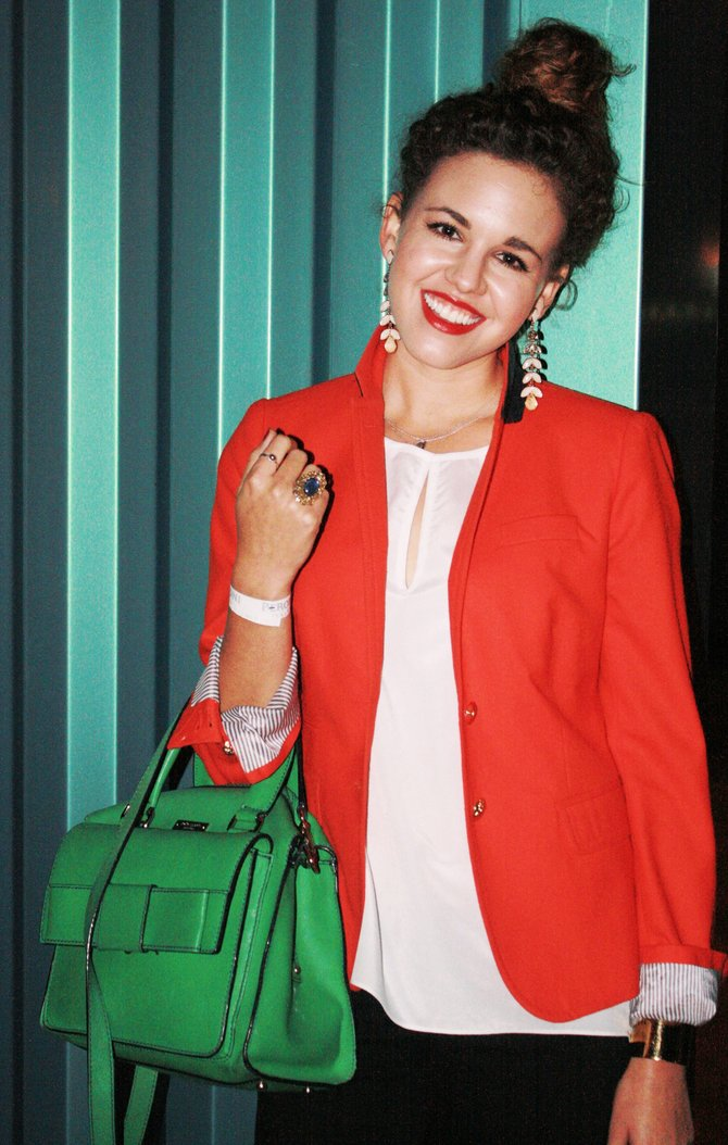 Angeline Minnocci in a red J.Crew blazer with green Kate Spade bag