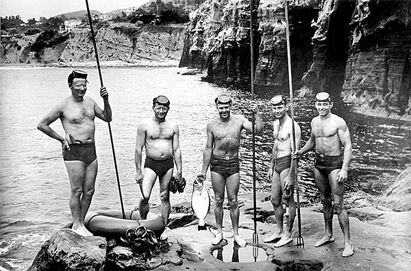 Original five bottom-scratchers in La Jolla caves area in 1939. Left to right: Glen Orr, Jack Corbaly, Ben Stone, Bill Batzloff, Jack Prodanovich.