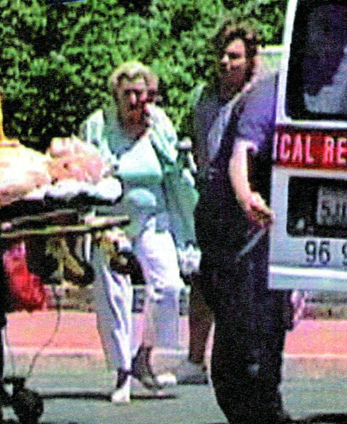 """Frame enlargement of Bob and Dolores in the never-aired NBC spectacular, """"Road to Euthanasia."""""""