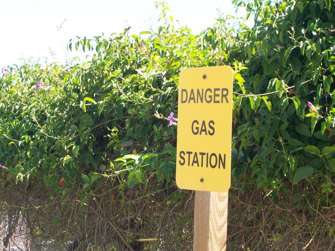 Sign near gas station on Catalina Island in Avalon.