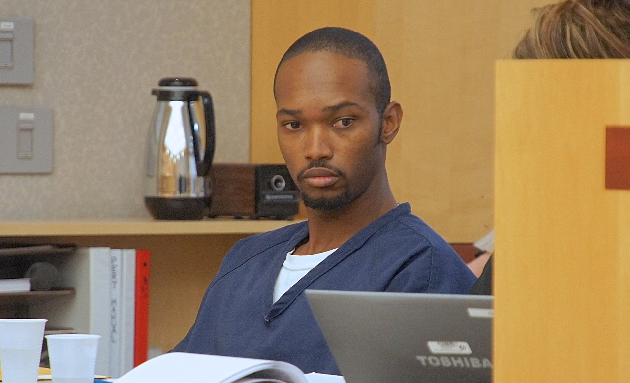 Robert Owens pleads not-guilty to felony assault, for punching a bad driver. Photo Eva.