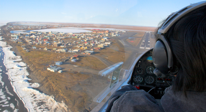 Approaching Barrow – the northernmost town in the U.S. – by plane. stock photo
