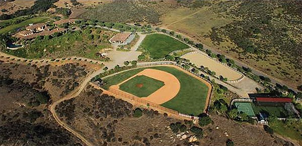 Homeowner and sports agent Jonathan Weisz built a full-sized baseball field on the property.