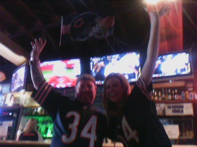My friend Katie and I at the 710 beach club in pacific beach.  Go Bears!!